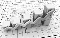 Geschäftsfinanzdiagramm, Diagramm, Stab, Grafik stockbild