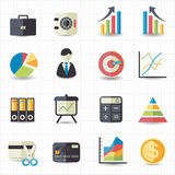 Geschäftsfinanzgelddiagramm-Diagrammikonen Stockfotos