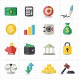 Geschäftsfinanzgeldikonen Lizenzfreie Stockbilder