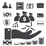 Geschäftsfinanzikonen stellen, Geld- ein und Kreditikonen vektor abbildung
