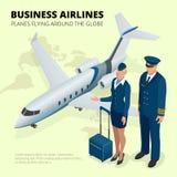 Geschäftsfluglinien, Flugzeuge, die rund um den Globus fliegen Flache isometrische Illustration des Vektors 3d Lizenzfreie Stockfotos
