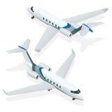 Geschäftsflugzeuge Privates Düsenflugzeug Flugzeug Private Strahlen Flache isometrische Illustration des Vektors 3d für infograph Stockbild