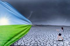 Geschäftsfrauänderungs-Landschaftshintergrund Lizenzfreie Stockfotos