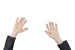 Geschäftsfrauhände, die für etwas erreichen Lizenzfreie Stockfotos