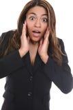 Geschäftsfrau-Überraschung stockfotografie