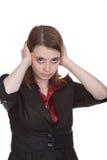 Geschäftsfrau - überreicht Ohren Stockbild