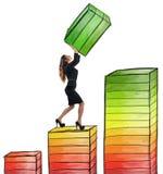 Geschäftsfrau arbeitet schwer Lizenzfreie Stockbilder