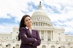 Geschäftsfrau auf dem Capitol Hill Lizenzfreie Stockfotos