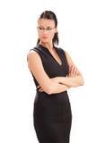 Geschäftsfrau auf dem weißen Hintergrund lizenzfreie stockbilder