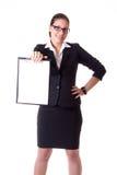 Geschäftsfrau auf dem weißen Hintergrund getrennt Stockfotos