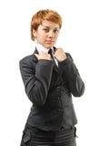 Geschäftsfrau auf einem Weiß Lizenzfreie Stockbilder