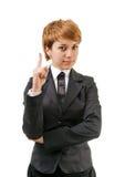 Geschäftsfrau auf einem Weiß Lizenzfreie Stockfotografie