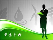 Geschäftsfrau auf grünem Umgebungshintergrund Lizenzfreies Stockfoto