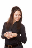 Geschäftsfrau auf Kaffeepause Stockfotografie