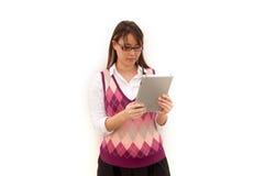 Geschäftsfrau auf Tablette Stockfoto