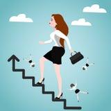 Geschäftsfrau auf Treppe Unterschiedliche Kugel 3d Lizenzfreies Stockbild