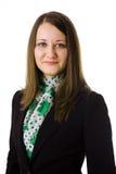 Geschäftsfrau auf weißem Hintergrund Lizenzfreies Stockfoto