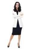 Geschäftsfrau auf weißem Hintergrund Lizenzfreie Stockfotografie