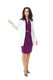 Geschäftsfrau auf weißem Hintergrund Stockbilder