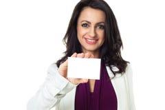 Geschäftsfrau auf weißem Hintergrund Lizenzfreie Stockfotos