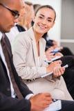 Geschäftsfrau bei der Konferenz Stockfoto