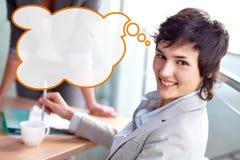 Geschäftsfrau bei der Sitzung lizenzfreie stockbilder
