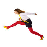 Geschäftsfrau beschleunigt irgendwo oben sich beeilen Lizenzfreie Stockfotografie