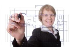 Geschäftsfrau-Betragdiagramm stockfoto