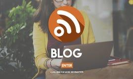 Geschäftsfrau-Blog-Network Connection Lizenzfreies Stockfoto