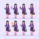 Geschäftsfrau Brunette hält Koffer und verschiedene Gegenstände Ohne Ineinander greifen stock abbildung