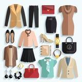 Geschäftsfrau Clothes Icons Stockfotos