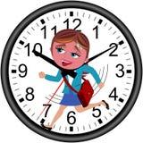 Geschäftsfrau Deadline Clock Running lokalisierte Stockbilder