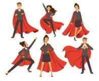 Geschäftsfrau in den Aktionshaltungen Weibliches Superheldfliegen Vektorillustrationen in der Karikaturart Stockbild