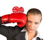 Geschäftsfrau in den Boxhandschuhen Lizenzfreies Stockfoto