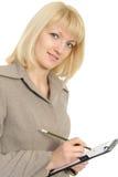 Geschäftsfrau in den Händen hält einen mechanischen Bleistift an Lizenzfreie Stockfotos