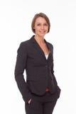 Geschäftsfrau in der Klage auf Weiß Stockbild