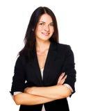 Geschäftsfrau, die über weißem Hintergrund lächelt Stockfoto
