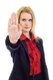 Geschäftsfrau, die Anschlag sagt Lizenzfreie Stockbilder