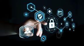 Geschäftsfrau, die Antivirus verwendet, um ein Cyberangriff 3D renderi zu blockieren Lizenzfreie Stockfotos