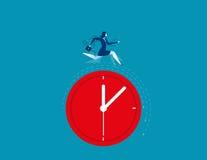 Geschäftsfrau, die auf der Uhr darstellt Frist läuft Stockfoto