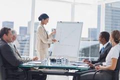 Geschäftsfrau, die auf ein wachsendes Diagramm während einer Sitzung zeigt Lizenzfreies Stockbild