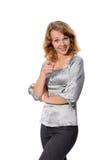 Geschäftsfrau, die auf Sie zeigt Stockbild