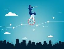Geschäftsfrau, die auf Unicycle und Antrieb durch Geschäft c balanciert Stockfotos