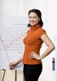 Geschäftsfrau, die auf Verkaufsdiagramm zeigt Stockbild