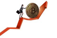 Geschäftsfrau, die bitcoin in cryptocurrency blockchain conce drückt Stockbilder