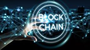 Geschäftsfrau, die blockchain cryptocurrency Schnittstelle 3D rende verwendet Stockbilder
