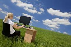 Geschäftsfrau, die Computer auf einem grünen Gebiet verwendet Stockfotos