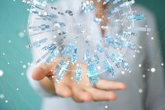 Geschäftsfrau, die 3D überträgt Gruppe blaues PET hält und berührt Stockfoto