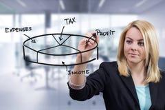 Geschäftsfrau, die 3D Kreisdiagramm im Büro zeichnet Lizenzfreie Stockfotografie