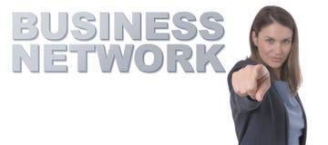 Geschäftsfrau, die das Text GESCHÄFTS-NETZ zeigt Lizenzfreies Stockfoto